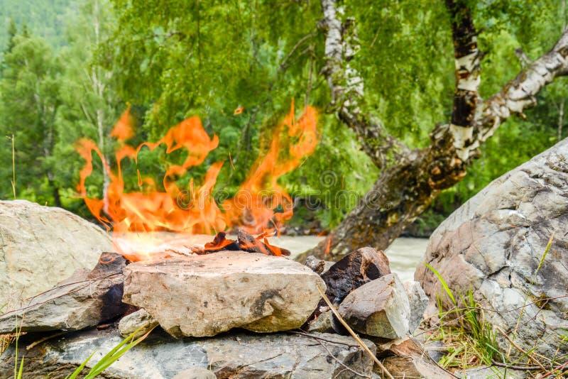 Fuego del campo Hoguera diluida en las rocas contra la perspectiva del bosque foto de archivo