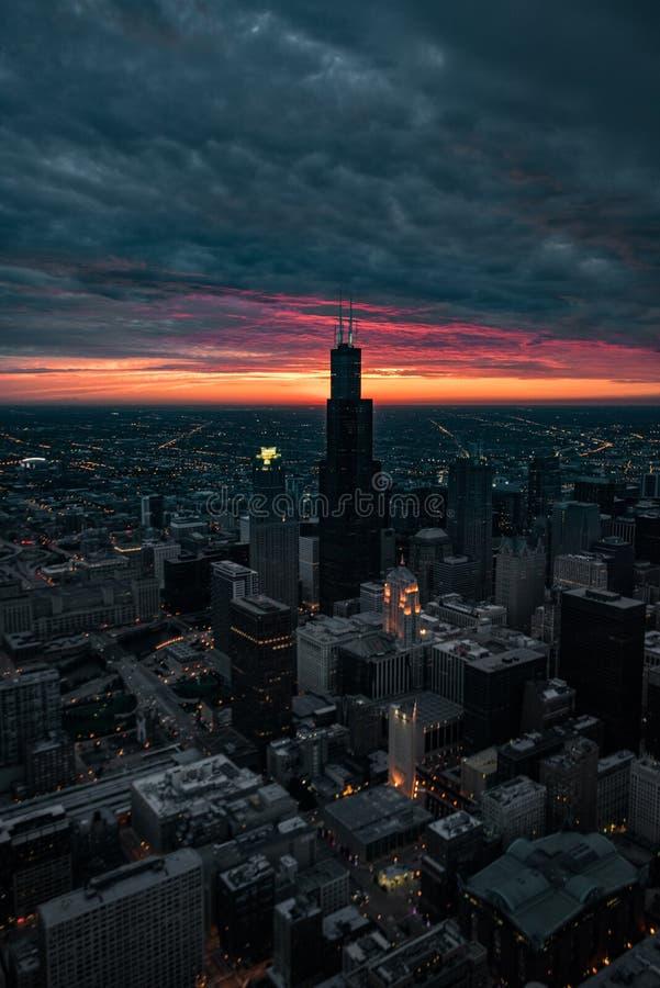 Fuego del cielo - Chicago imagen de archivo libre de regalías