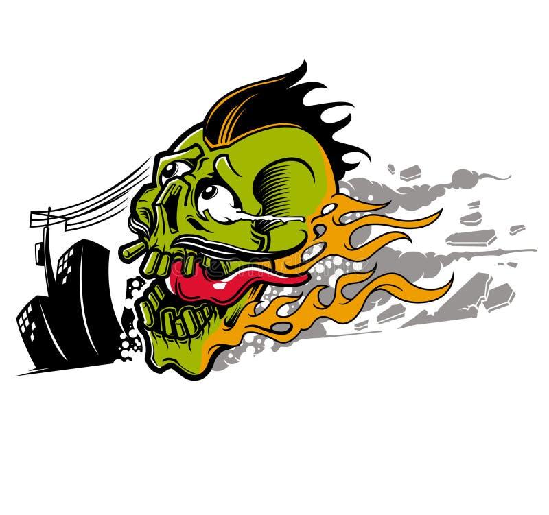 Fuego del cráneo stock de ilustración