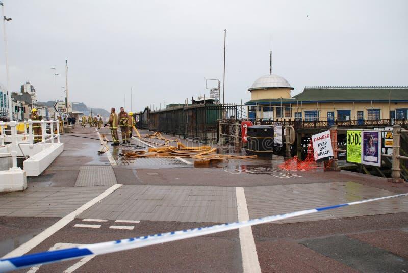 Fuego del embarcadero de Hastings foto de archivo libre de regalías