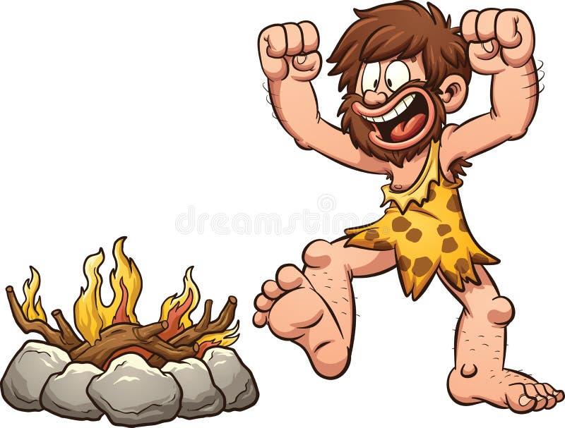 Fuego del hombre de las cavernas ilustración del vector