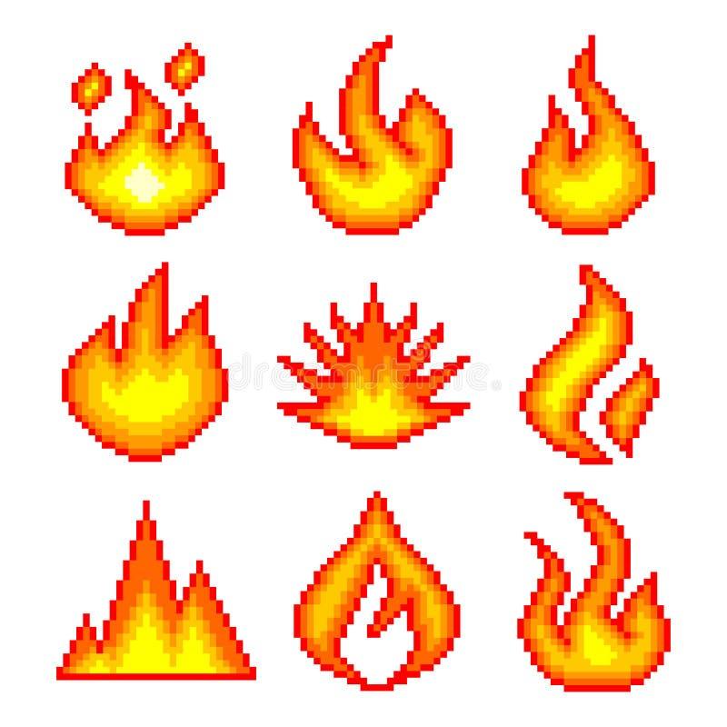 Fuego del pixel para el sistema del vector de los iconos de los juegos libre illustration