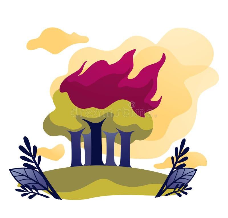 Fuego ecológico del problema del incendio fuera de control en árboles forestales en llama ilustración del vector