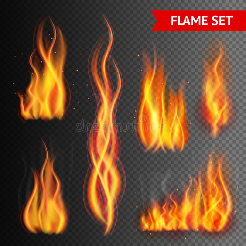 Fuego en fondo transparente stock de ilustración