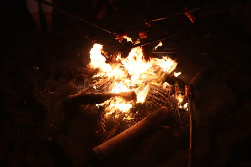 Fuego en la playa Igualando la barbacoa y tostar las salchichas Llamas que oscilan con la oscuridad Reunión tradicional de la hog foto de archivo