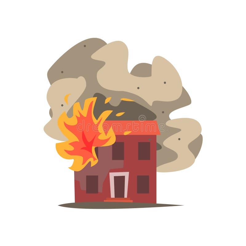 Fuego en la ventana del ejemplo del vector del edificio de dos pisos ilustración del vector