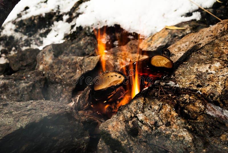 Fuego encendido foto de archivo