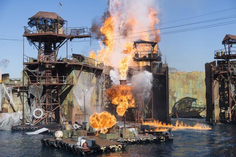 Fuego, explosión y agua fotografía de archivo libre de regalías