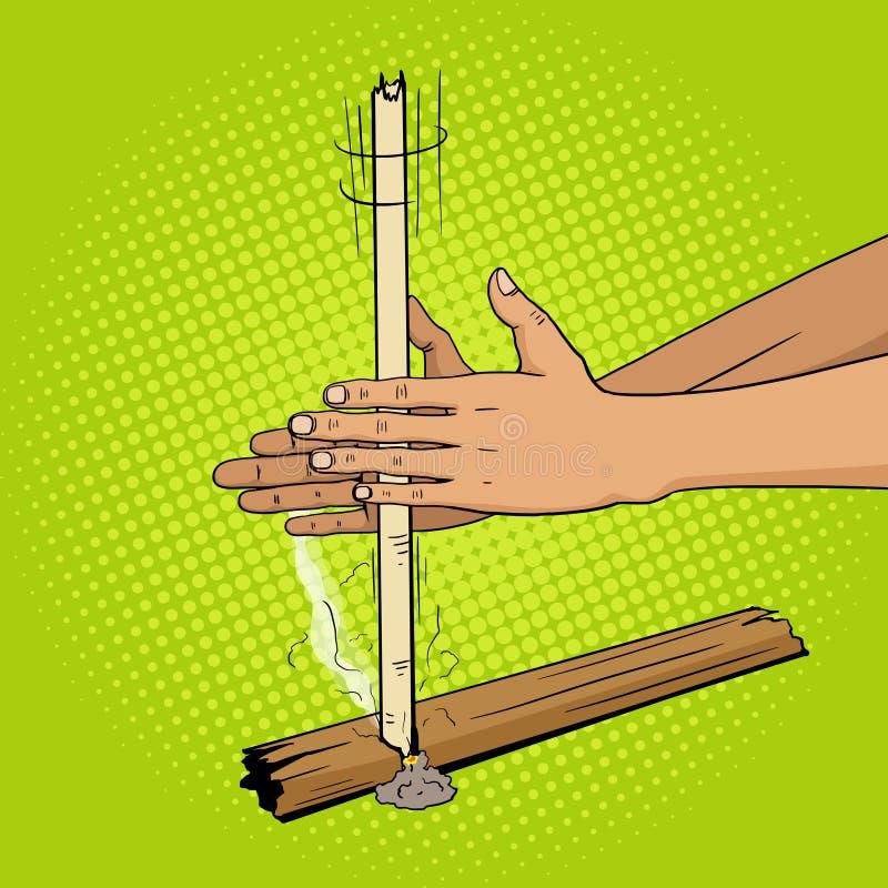 Fuego prehistórico de la producción por arte pop de las manos stock de ilustración