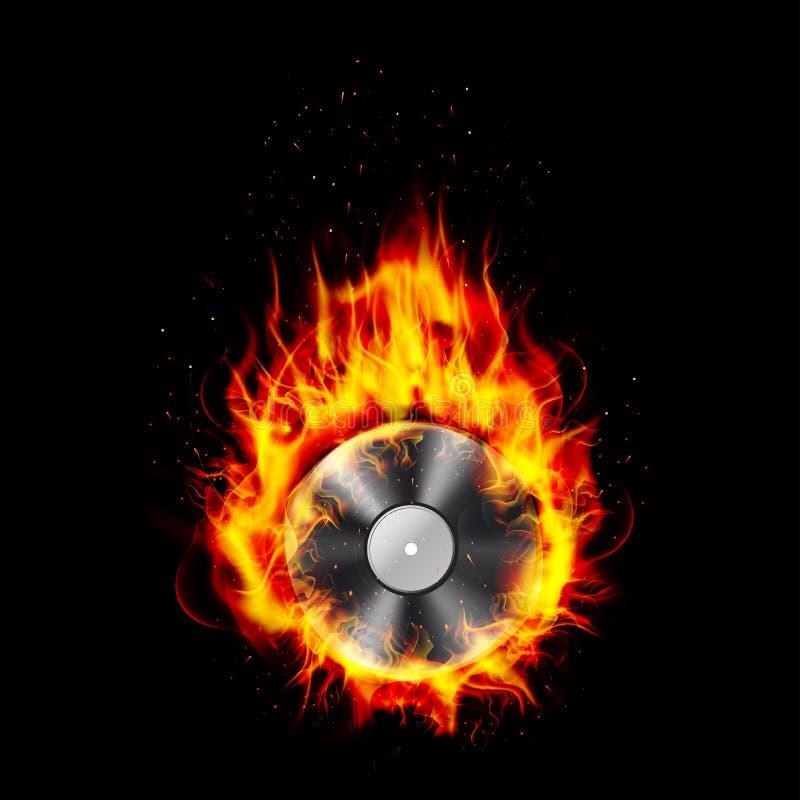 Fuego que quema el fondo negro CD ilustración del vector