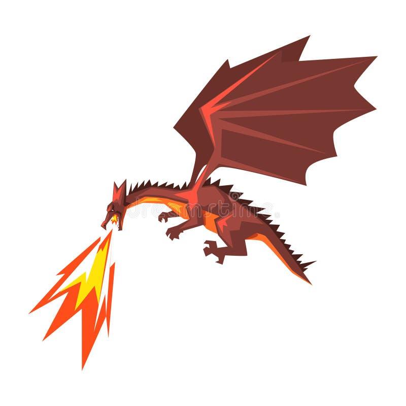 Fuego rojo de la expectoración del dragón, ejemplo animal de respiración del vector del fuego mítico en un fondo blanco ilustración del vector