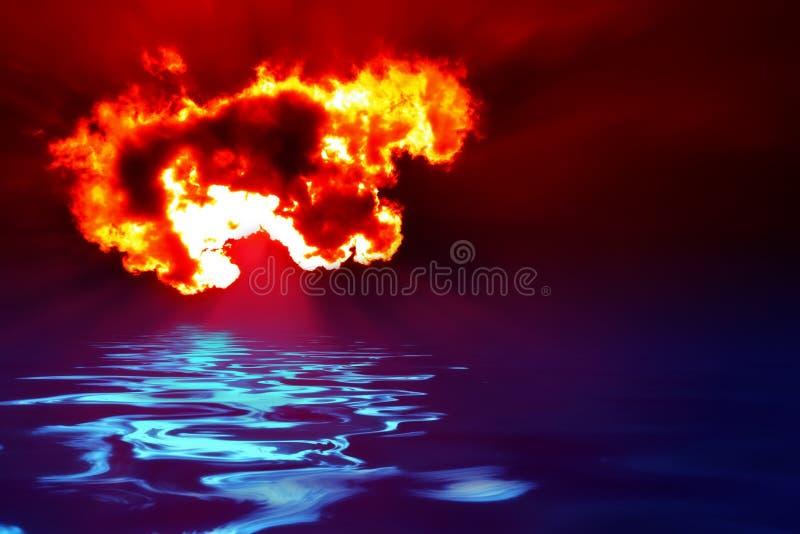Fuego y agua stock de ilustración