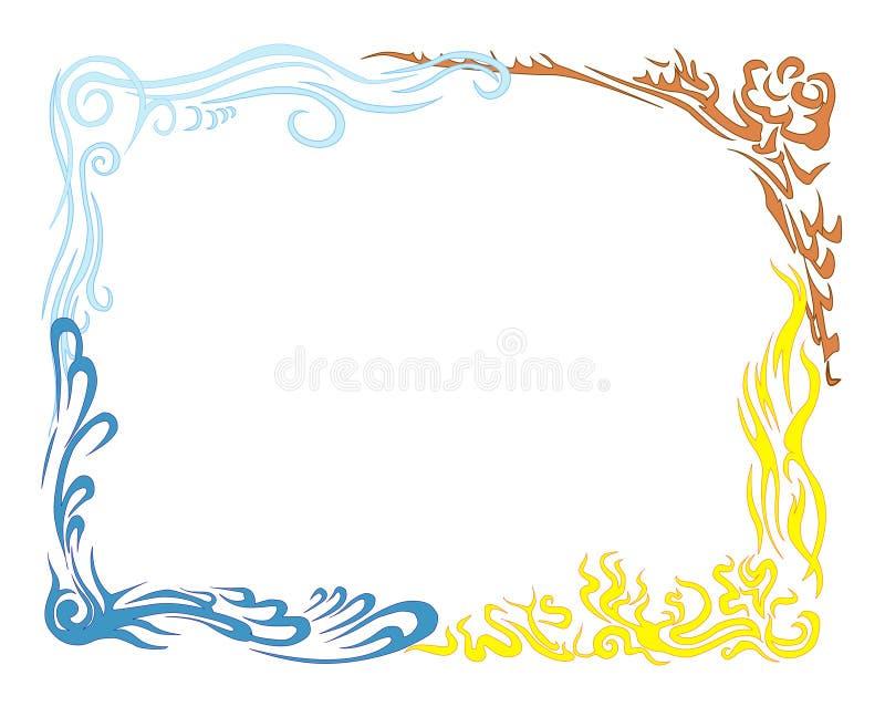 Fuego Y Agua Del Aire De La Tierra. Marco Grande. Ilustración del ...