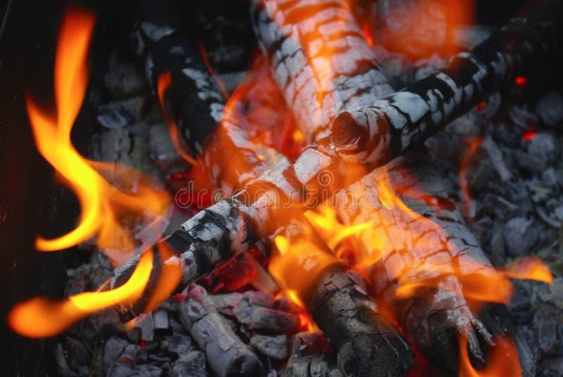 Fuego y carbones fotografía de archivo libre de regalías