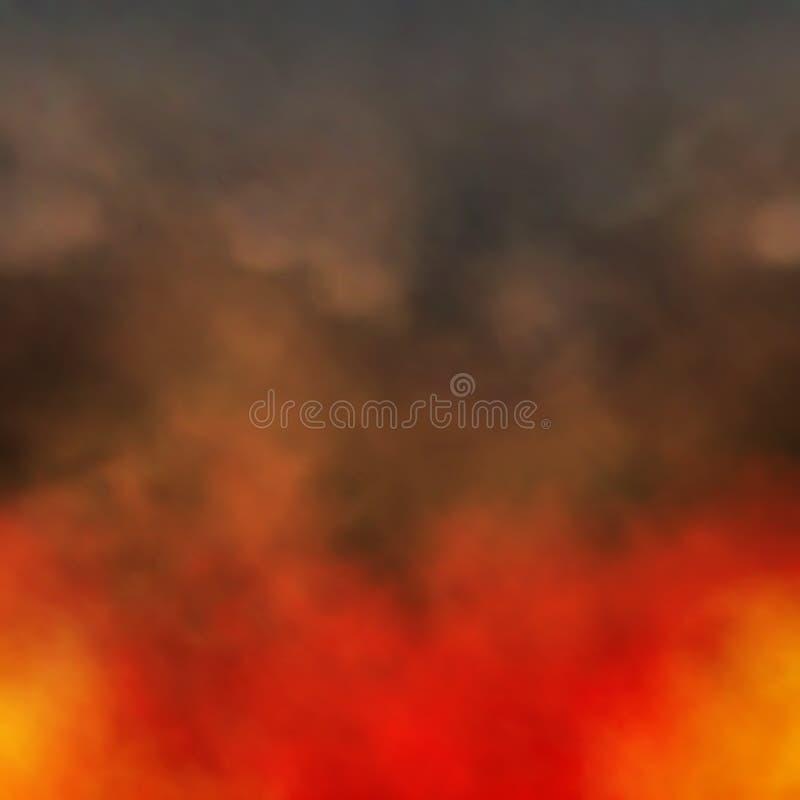 Fuego y humo stock de ilustración