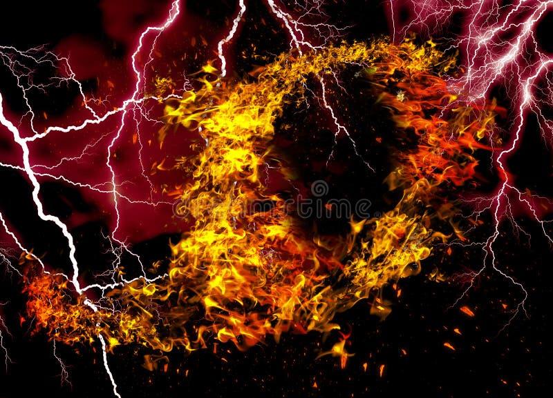 Fuego y llamas con una obscuridad ardiente - rojo - fondo anaranjado Fuego y llamas elemento fotos de archivo