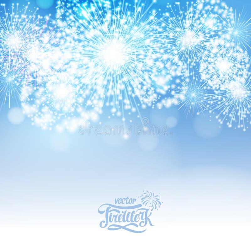 Fuegos artificiales azules del día de fiesta libre illustration