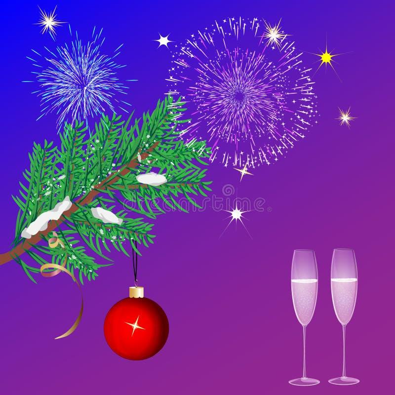 Fuegos artificiales azules del fondo de la Navidad y un árbol de navidad stock de ilustración