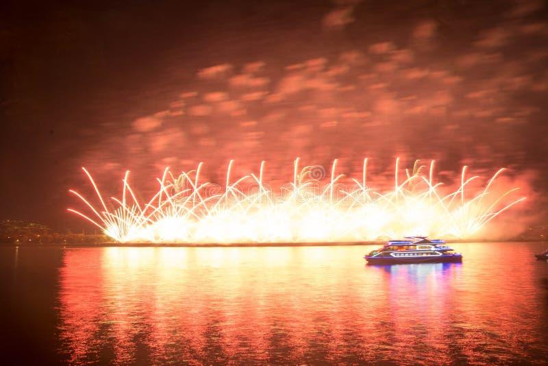 Fuegos artificiales chinos en fondo de la noche foto de archivo libre de regalías