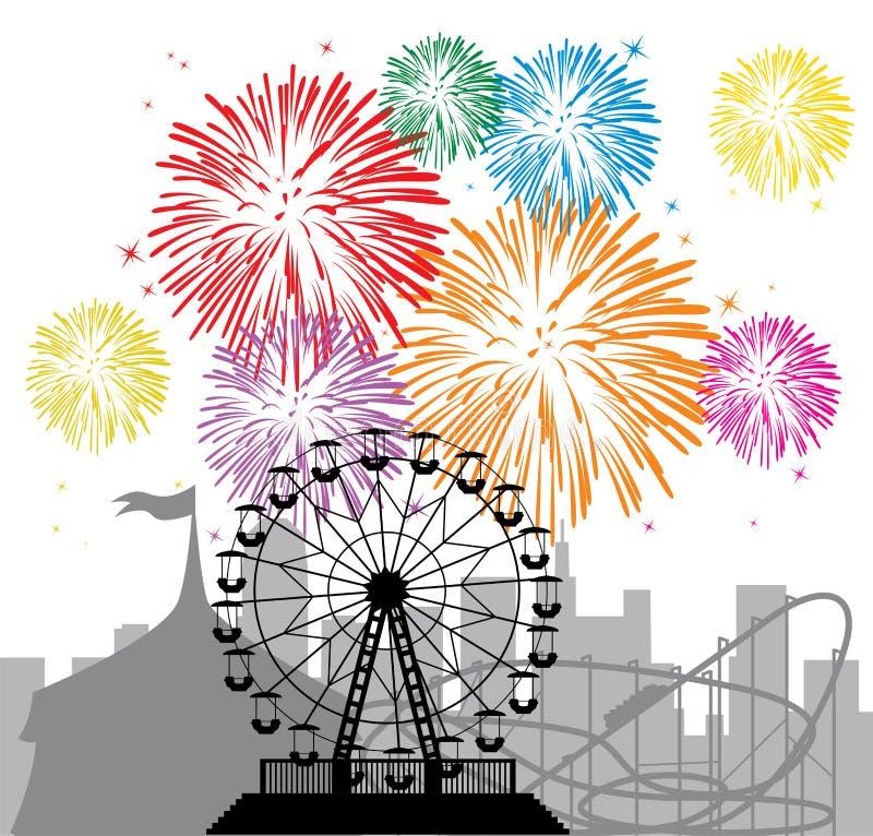 Fuegos artificiales, ciudad y parque de atracciones ilustración del vector