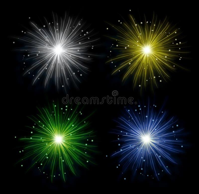 Fuegos artificiales coloridos aislados en fondo oscuro puro Decoración festiva de la celebración stock de ilustración
