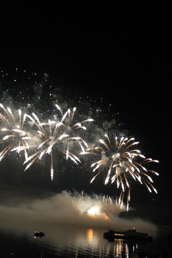 Fuegos artificiales coloridos brillantes de la noche de los fuegos artificiales fotografía de archivo libre de regalías