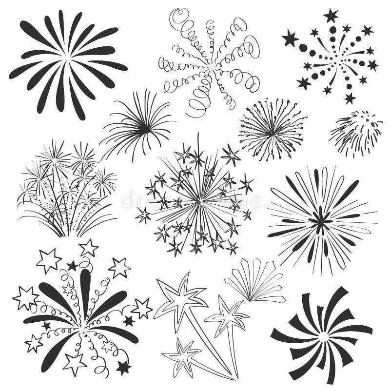 Fuegos artificiales coloridos dibujados mano fijados ilustración del vector