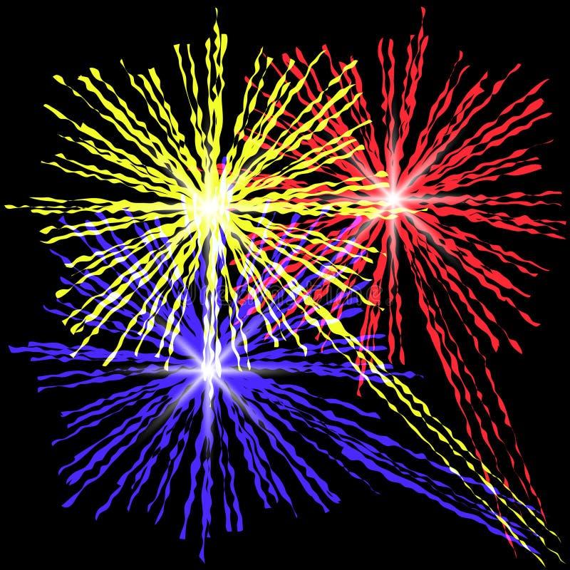 Fuegos artificiales coloridos en el fondo negro ilustración del vector
