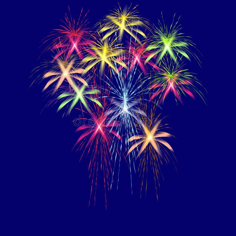Fuegos artificiales coloridos en honor de Victory Day en un ejemplo azul del fondo ilustración del vector
