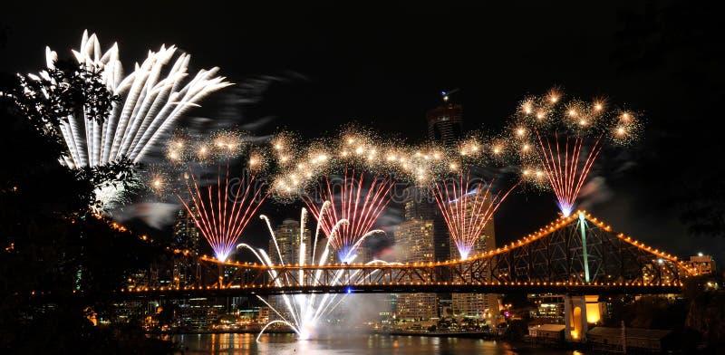 Fuegos artificiales de Brisbane fotografía de archivo