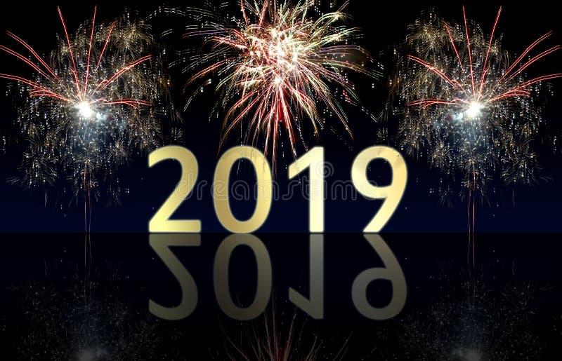 Fuegos artificiales de la Feliz Año Nuevo 2019 fotos de archivo libres de regalías