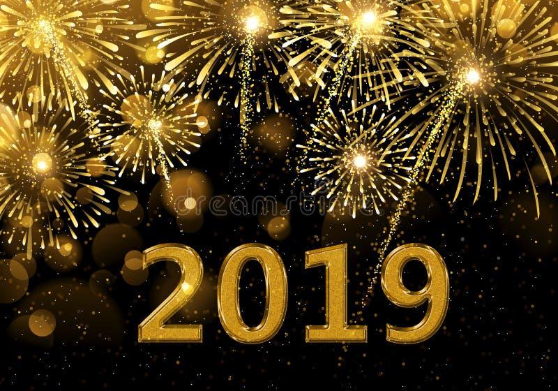 Fuegos artificiales de la Feliz Año Nuevo 2019 fotografía de archivo libre de regalías