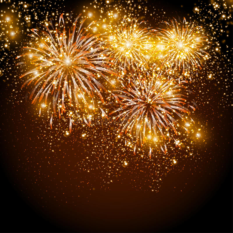 Fuegos artificiales de la Feliz Año Nuevo libre illustration