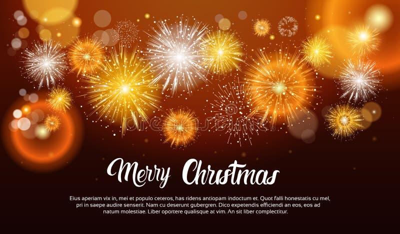 Fuegos artificiales de la Navidad que estallan y que chispean contra bandera de la Feliz Año Nuevo del fondo de la noche ilustración del vector