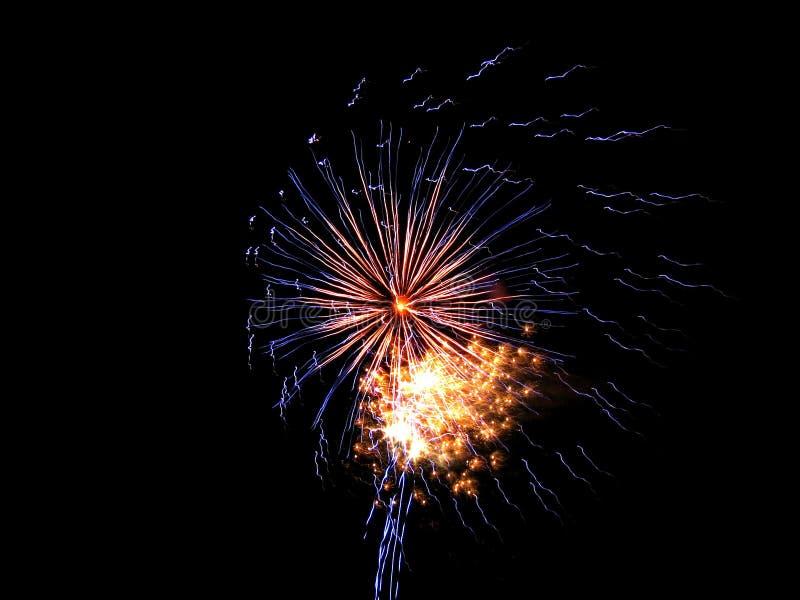 Fuegos artificiales de la Púrpura-lluvia imágenes de archivo libres de regalías