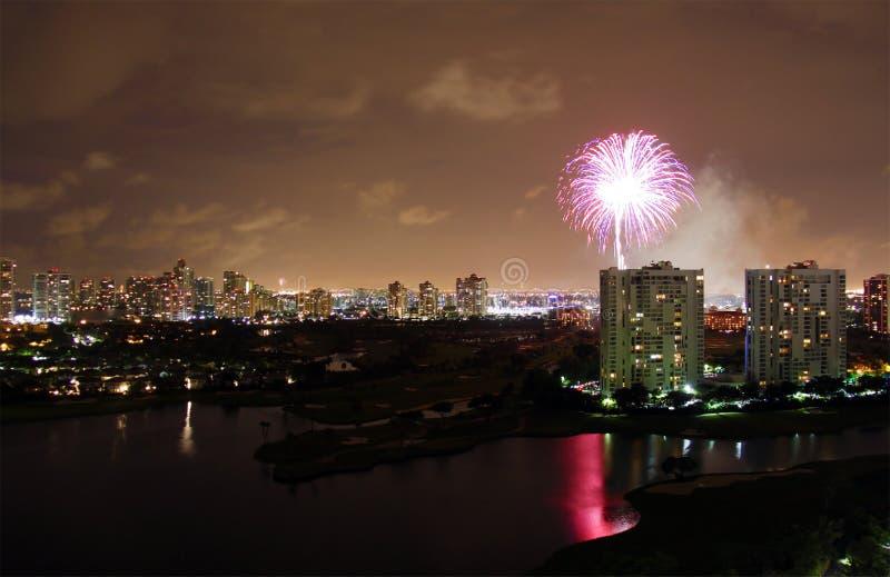 Fuegos artificiales de Miami fotografía de archivo