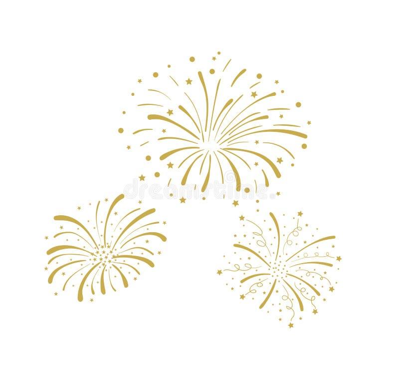 Fuegos artificiales de oro aislados, celebración, icono del partido, aniversario, Noche Vieja del garabato del vector ilustración del vector