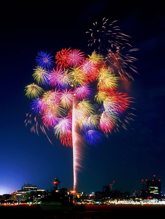 Fuegos artificiales de Yokohama imagenes de archivo