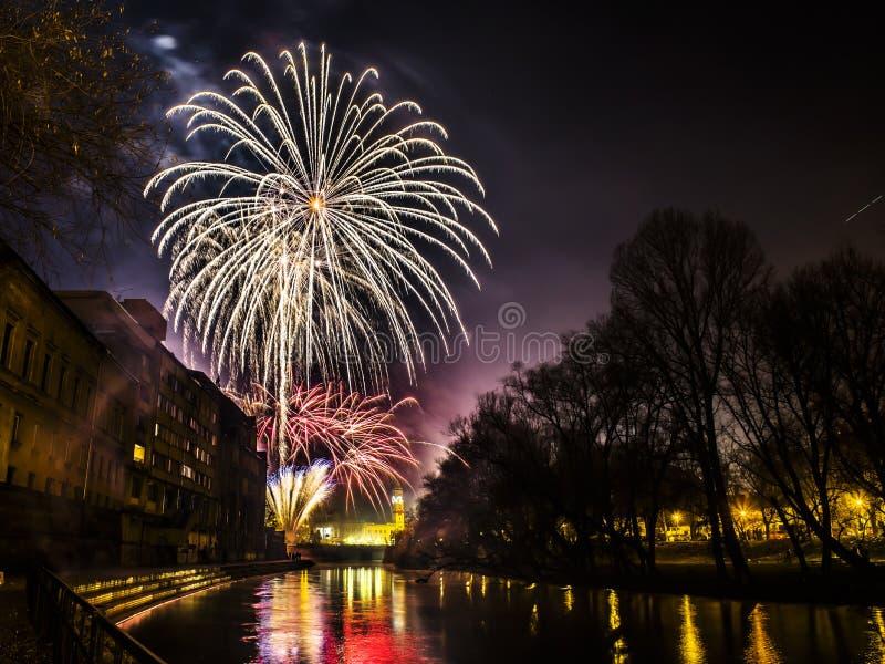 Fuegos artificiales del Año Nuevo fotografía de archivo