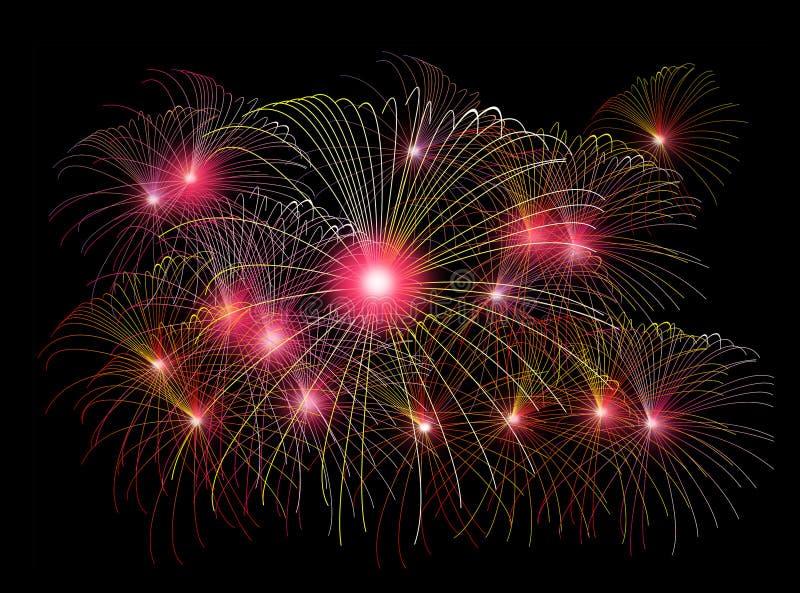 Fuegos artificiales del Año Nuevo ilustración del vector
