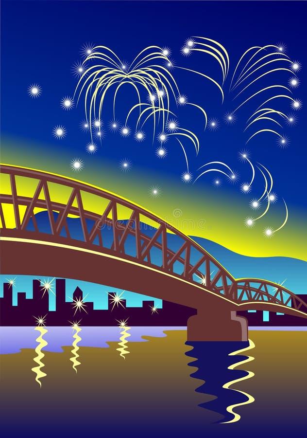 Fuegos artificiales del Año Nuevo en la ciudad libre illustration