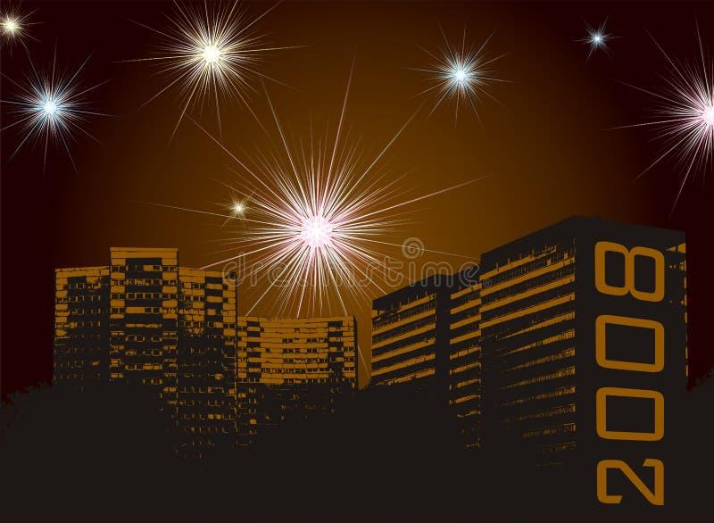 Fuegos artificiales del Año Nuevo urbanos stock de ilustración