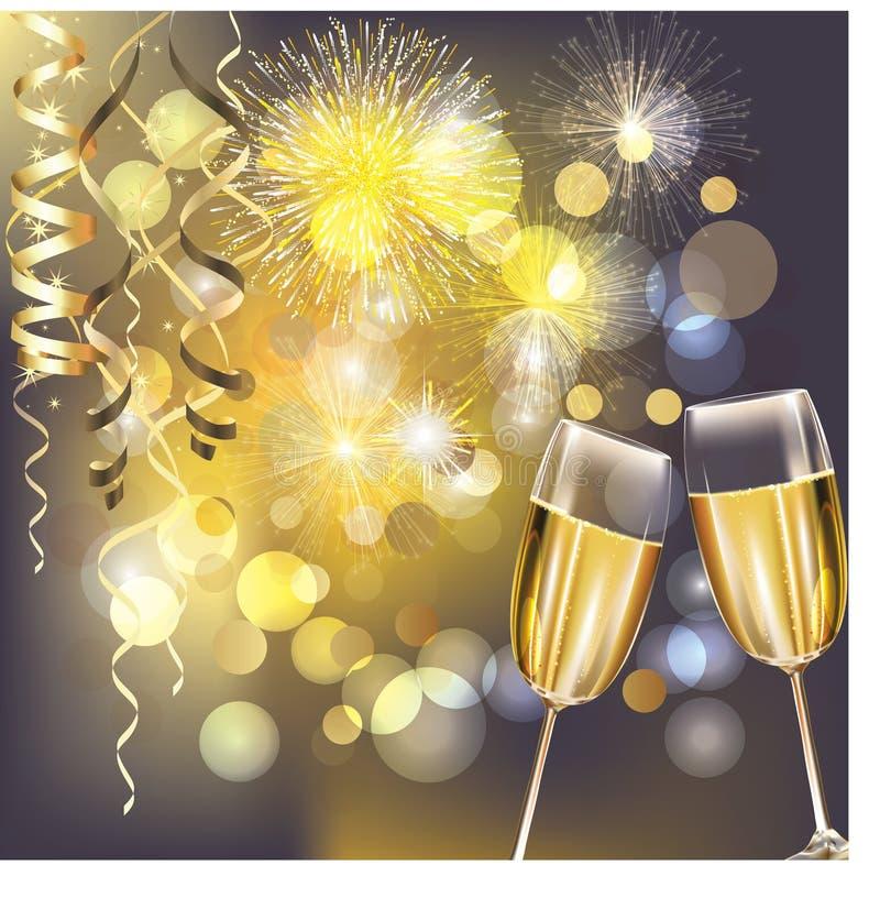 Fuegos artificiales del Año Nuevo y vidrios del champán