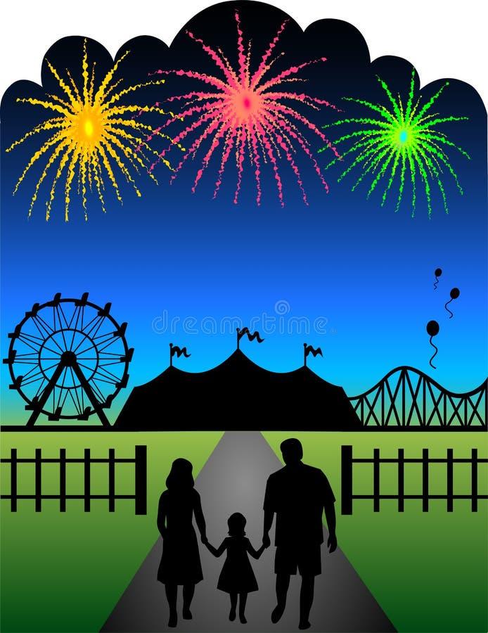 Fuegos artificiales del carnaval de la familia stock de ilustración