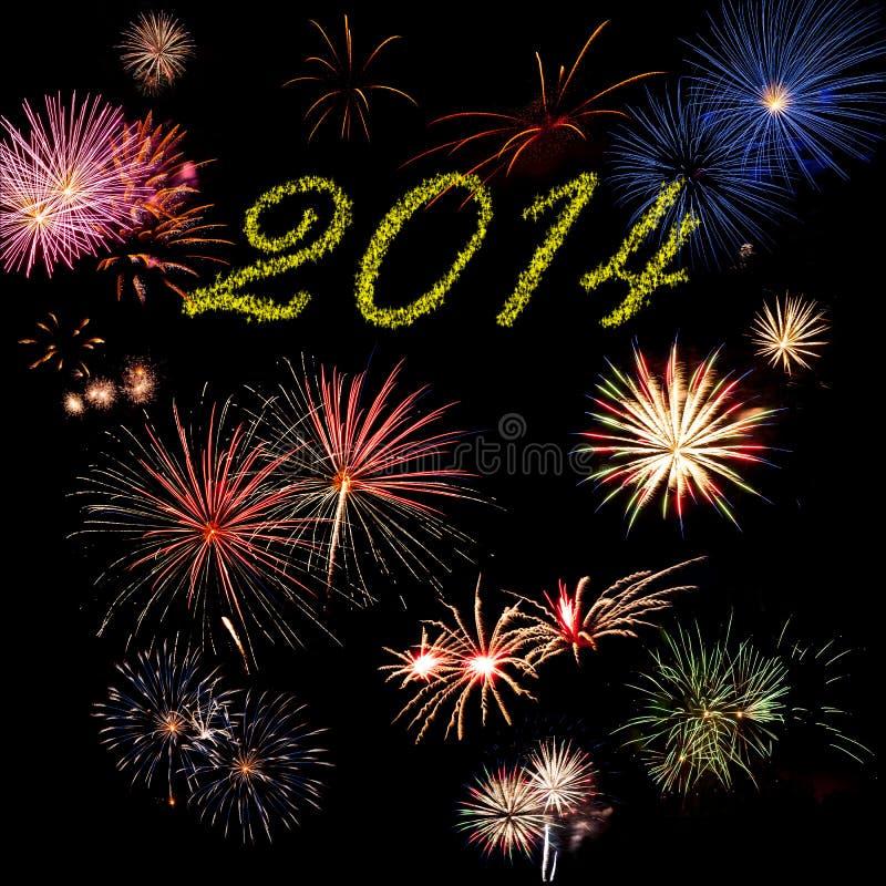 2014 fuegos artificiales del día de fiesta del Año Nuevo foto de archivo