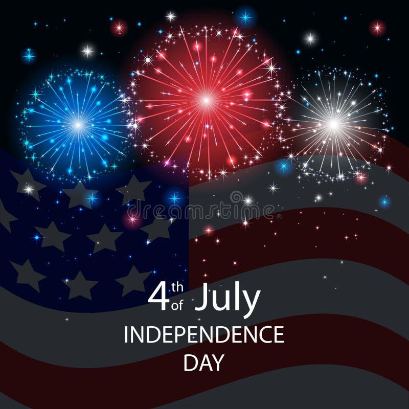 Fuegos artificiales del Día de la Independencia con una bandera americana stock de ilustración