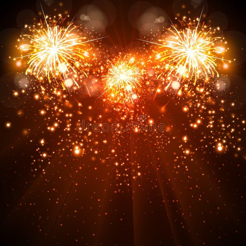 Fuegos artificiales del fondo de la celebración de la Feliz Año Nuevo ilustración del vector