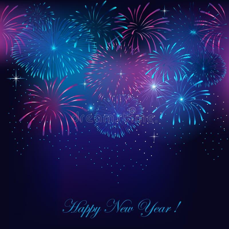 Fuegos artificiales del ` s del Año Nuevo stock de ilustración