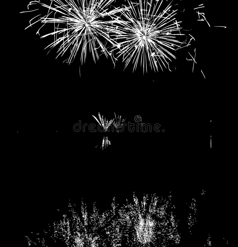 Fuegos artificiales del vector con la reflexión en el lago fotografía de archivo libre de regalías