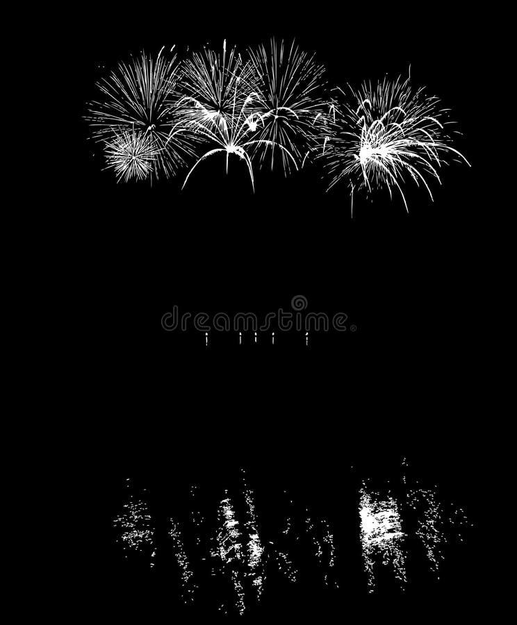 Fuegos artificiales del vector con la reflexión en el lago imagenes de archivo